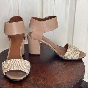 Enzo Angiolini Tan/Nude Chunky Heel Sandal 6